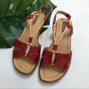 Pikolinos Red Acudia Slingback Sandals Size 8.5